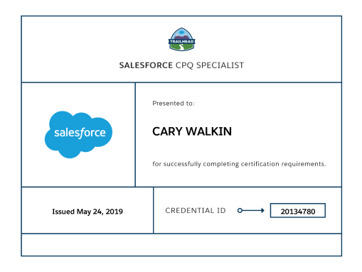 Salesforce CPQ Specialist Credential
